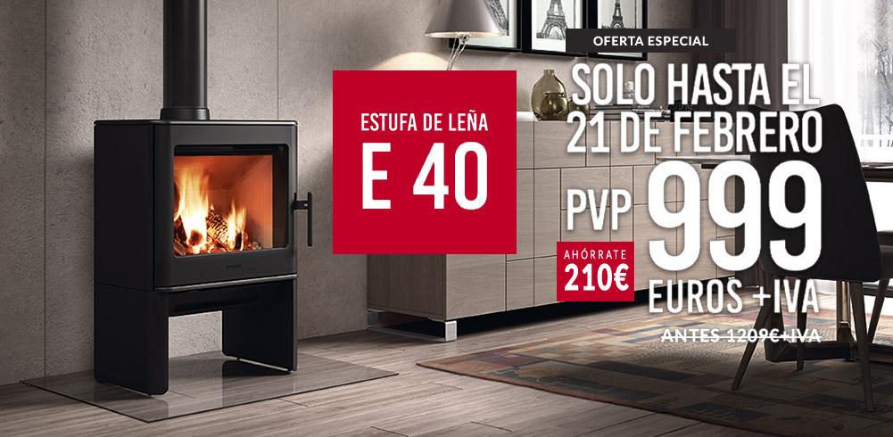 Estufa de Leña E-40. Oferta especial Ahora tan solo por 999 €. Hasta el 21 de febrero.