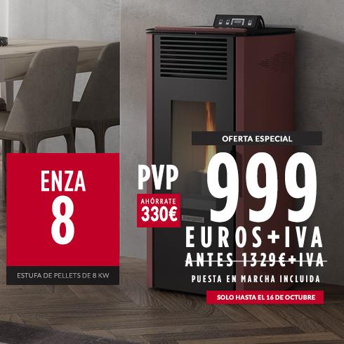 Estufa Enza 8 de pellets 8 KW, Hergom: Oferta especial 999 € + IVA Puesta en marcha incluida.